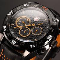 date - New Brand Shark Orange Relogio Hands Dual Time Day Date Display Genuine Leather Band Mens Quartz Wrap Men Sport Quartz Wrist Watch SH154