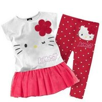 Cheap 2015 kids clothes 2015 children girls clothing set Summer hello kitty cute pajamas costume baby kids child cartoon clothes sets suits