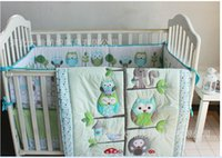 Wholesale 100 Cotton embroidery Appliqued Owl Tree Trunk homes Baby Cot Crib Bedding Sets items Quilt Bumper bed Skirt Mattress Cover
