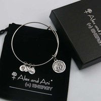 bag copper sets - High quality mm diameter silver plated alex and ani Initial letter A Charm bracelet with box Drawstring bag