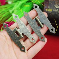 antique butterfly hinges - 50pcs MM antique wooden gift box hinge long hinge Holes Butterfly Bronze Butt Hinges H type hinge