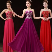 Wholesale Elegant A Line Strapless Embroidered Flowers Prom Dress Long Chiffon Graduation Dresses Red Purple Hot Pink