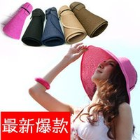 Wholesale 2016 Summer Fashion Women Wide Brim Roll Up Empty Top Sun Straw Beach Hat Visors Cap Adjustable Foldable Colors