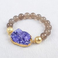 Wholesale handcrafted beaded Natural Agate Druzy bracelets Purple gold plated Geode connector With mm Grey Agate Beads Adjustable