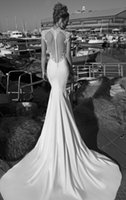 Cheap Galia Lahav Inspired 2014 Wedding Dresses Fit and Flare Stretched Satin and Appliqued Lace Bridal Gown with a Sheer Heart Shaped Open Back