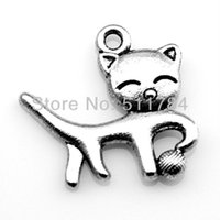 cat charms - 100pcs mm double side cat playing ball of yarn charms
