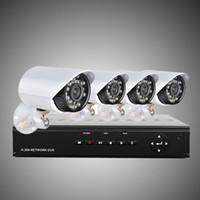 al por mayor 4ch impermeable-Actualizar sistema de seguridad H.264 4CH 960H red DVR con cámaras a prueba de agua color 4pcs 700TVL, 500G HDD CCTV Sistema H203