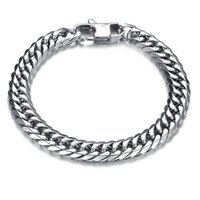 chain bracelet - Silver Plated Titanium Stainless Steel Luxury Bracelet Stylish Men Chain Bracelet Bangle mm Width Jewelry B388
