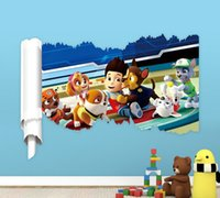 bathroom art prints - 3D Paw Patrol Wall Stickers Room Decorations Diy Home Decals Animal Mural Arts Print Movie Poster