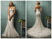 Cheap Amelia Sposa Luxury Ivory Mermaid Wedding Dresses 2015 Sexy Sweetheart Neckline Sleeveless Beading Crystals Covered Button Bridal Gowns Cloe