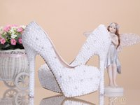 Cheap 2015 Fashion Luxurious Pearls Crystals Wedding Shoes Custom Made Size 10-14 cm High Heel Bridal Shoes Party Prom Women Shoes Free Shipping
