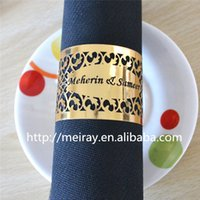 Wholesale DHL to Belgium Laser cut paper gold napkin rings paper napkin rings for weddings with names