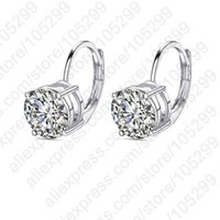 Cheap Stock Real Pure 925 Sterling Silver Jewelry 4 Claws Cubic Zirconia Pendant French Lever Back Hook Earring Fast Ship