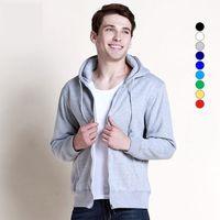 Wholesale HOT SALE new Solid winter sweater thick cotton fleece zip sweater men hooded sweater Hoodies