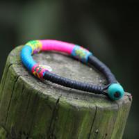 artwork bracelets - A Handmade Artwork sweet bohemian thread colorful bracelet amp bangle New Original Ethnic statement rope bangle