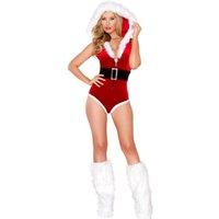 beauty secrets women - 2 Piece Miss Santa Beauty Secret Velvet Costume Christmas White Fur Trim Hooded Sleeveless Triangle Jumpsuit Singer Romper
