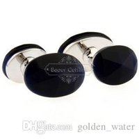 Wholesale Cufflinks mixed batch of foreign trade black onyx cufflinks AE1408 round gem high quality low price procurement mark