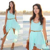 ladies chiffon fashion dresses - Sexy Style For Big Girls Dresses Women Chiffon Irregular Fashion Sleeveless Dress Ladies Beach Party Dressy Gift Blue Black Leopard K1834