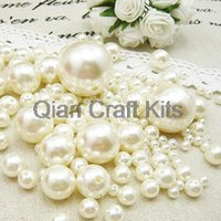 Wholesale 1000pcs mixed sizes mm mm Ivory or white Pearls Faux Imitation Plastic Beads Wedding Centerpiece Vase Filler decor Jewelry