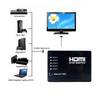Wholesale 5 PORT P HDMI Switch Switcher Selector Splitter Hub With iR Remote For HDTV PS3 Xbox HDTV DVD