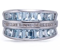 aquamarine and diamond ring - Natural Aquamarine Gemstone and Diamond Solid Sterling Silver Rings For Women