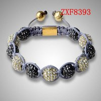 ball and chain brass plate - Nialaya New cool black and gold Diamonds ball bracelet Shamballa natural stone tresor alloy Silver Plated man s Adjustable braceletZXF8393