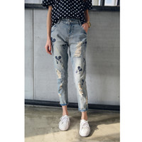 antique embroidered - Brand jeans pants embroidered antique girl cartoon Mickey cardboard torn loose women Jeans with holes Boyfriend Jeans for women