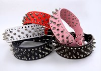 pit bull - Spiked Studded Pet Dog Collar Adjustable Faux Leather Dogs Leashes Pit Bull Boxer Mastiff Breeds Collars DHL Free