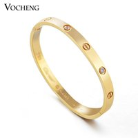 cz stones - Brand Bangle Bracelet Non fading Colors Plating New Trendy Design Stainless Steel With CZ Stones VG Vocheng Jewelry