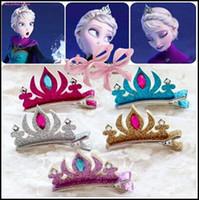 al por mayor diadema fiebre congelada-2015 congelado pinza de pelo fiebre con chicas corona cristal lentejuelas Elsa horquillas para el cabello diadema niños baratas accesorios de pelo J061804 #