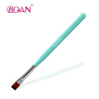 Others angeled brush - Green Wood Handle Flat Angeled Gel Brush with Import Nylon Hair Nail Gel Pen