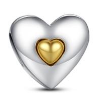Silver Charm Coeur Joyeux anniversaire avec 14k Coeur Véritable argent 925 pour Style Pandora Bracelets S215