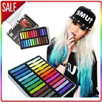 Wholesale 24 Colors short hair Fashion Hot Fast Non toxic Temporary Hair Chalk Dye Soft Pastel DIY Hair Colors mix color
