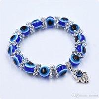 achat en gros de shamballa perles-La turquie Mauvais Œil Bracelet Résines Perles Shamballa pendentif de la Kabbale à la Main bracelet de perles brin élastique bracelet de charme de bijoux de NOËL cadeaux