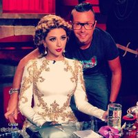 Wholesale New Arabia Sexy Singer Myriam Fares Dresses Round neck With Beaded Mermaid Floor length Chiffon Evening Celebrity Dresses