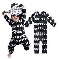 Wholesale Retail Cotton Newborn Baby Boy Girl White Cross X Print Bodysuit Sleepsuit Rompers Nununu Long Sleeve Cross Pattern Infant Clothing