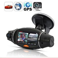 Wholesale 2 Inch Screen HD Dual Camera Lens Rear View Camera Recorder Car DVR IR Night with GPS Logger and GPS Sensor