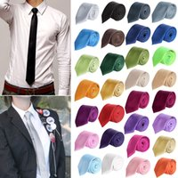 Neck Tie polyester satin - 10 Minimum Fashion Men Women Skinny Solid Color Plain Satin Polyester silk Tie Necktie Neck Ties fx29