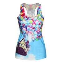fitness tank tops - EAST KNITTING F50 New Spring Colorful Ballon D Camisole Digital Printed Women Fitness Top Lady s Sexy Vest Tanks Clothes