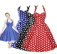 sexy dresses - 2015 New Arrival Women s Cute And Sexy Dot Print Retro Dress Party Princess Dresses Summer Ball Gown Dress Size S XXL