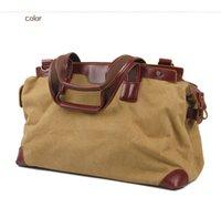 Wholesale Canvas Leather Casual Handbag Large Capacity Handbag Travel Duffel Bags Shoulder Bag