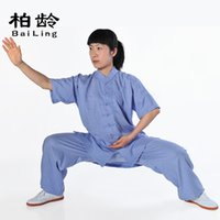 Wholesale Parkland new summer clothes Jin Tai chi clothing short sleeved cotton Ms male sweat boxing martial arts clothing DP