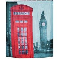 Wholesale 180 Telephone Booth Big Ben Design Shower Curtain Bathroom Waterproof Fabric Shower Curtain AF0162