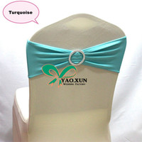 Banquet 100% Polyester Many color Turquoise Color Lycra Spandex Chair Band Used For Wedding Spandex Chair Cover