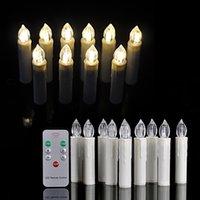 achat en gros de led blanche lumière arbre-10 pièces / LOT garantie de qualité Énergie d'économie de lumière LED arbre bougies lumières blanc par 1xAA + 7 touches infrarouge télécommande