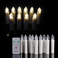 Wholesale 10 Pieces Quality Guarantee Energy Saving LED Christmas Tree Candle Lights White Light By xAA keys Infrared Remote Control