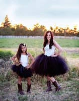 ruffle skirt - 2015 New Black Tiered Skirts Mother And Daughter Tutu Skirts Ball Gown Family Clothing Custom Made Tulle Ruffles Skirts Prom Party Dress