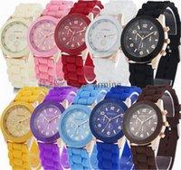 venda por atacado china watches-Hot! China de luxo mens-relógios mulheres homens genebra assistir doces borracha geléia moda unissex pulso de quartzo de silicone relógios para as mulheres relógio de pulso