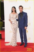 Cheap 2014 66th Emmy Awards Camila Alves Celebrity Dresses Zuhair Murad Dresses Arabic Mermaid Lace Sheer Red Carpet Evening Gowns EM4183