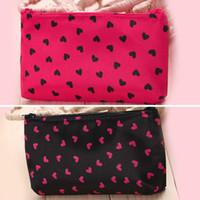 Wholesale Satin Women s Single zipper Heart Pattern Cosmetic Bag Clutch bag wash bag Small Cosmetic Cases